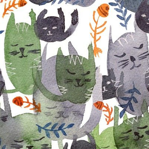 Cat Cacophony grey Pattern