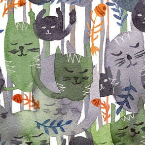 Cat Cacophony grey on Stripes