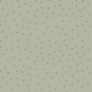 Painted Dots Pink on Vintage Green