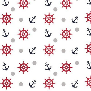 Anchor and nautical wheel red and bl
