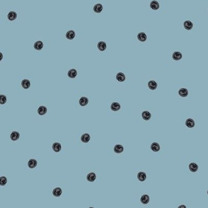 Painted Dots Dark Grey on Blue