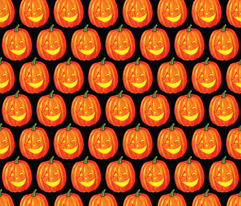 Pumpkins - Black fabric by kellygilleran on Spoonflower - custom fabric