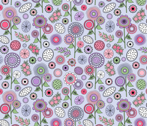 Colorful Mid Century Modern Field of Flowers fabric by elsy's_art on Spoonflower - custom fabric