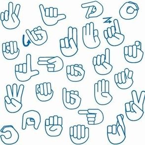Tossed Sign Language ASL Alphabet on Blue