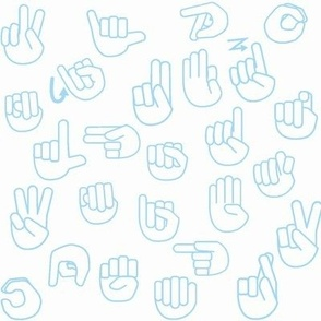 Tossed Sign Language ASL Alphabet on Light Blue