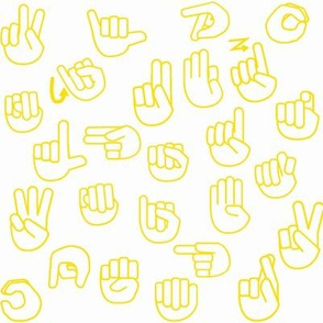 Tossed Sign Language ASL Alphabet on Yellow