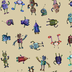 Party Robots on Beige