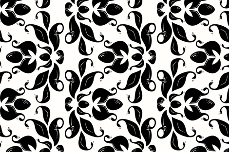 family life in black and white fabric by eleventy-five on Spoonflower - custom fabric