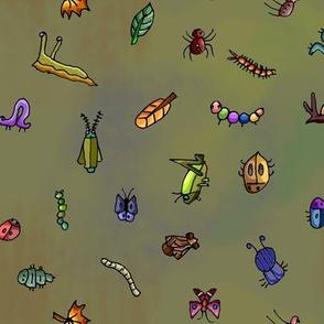 Bitty Bugs on Rainbow Khaki