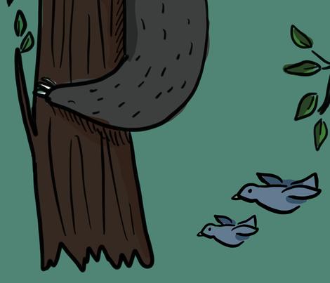 Sleepy Sloths on Medium Teal fabric by tracydb70 on Spoonflower - custom fabric