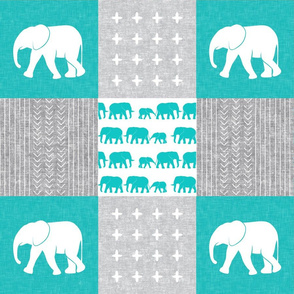 Elephant wholecloth - cross my heart - teal