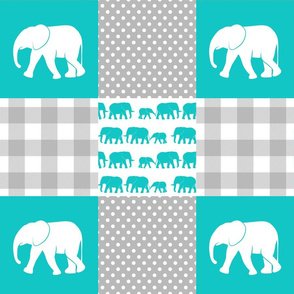 elephant wholecloth - plaid and polka dots - teal