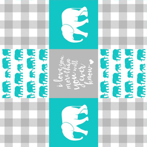 Elephant wholecloth - I love you more than you will ever know - patchwork - plaid - teal (90)