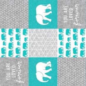 Elephant wholecloth - You are loved forever.  - teal (90)