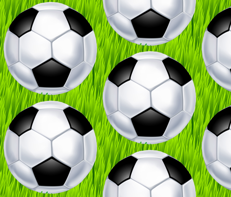 Soccer Ball on Tall Green Grass fabric by fabric_is_my_name on Spoonflower - custom fabric