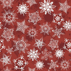 Elegant Holiday Snowflakes-Berry Red