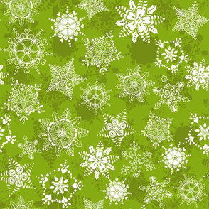Elegant Holiday Snowflakes-Bright Green
