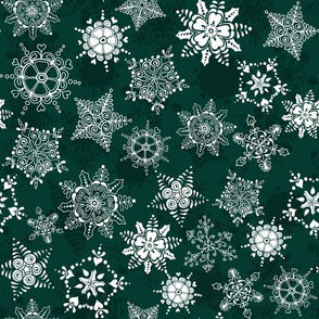 Elegant Holiday Snowflakes-Deep Green
