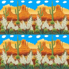 Desert Mountains Yucca Cactus Border