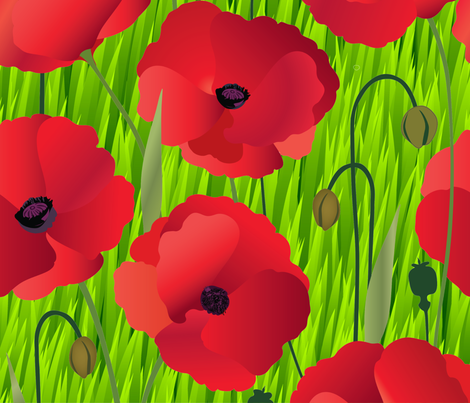 Red Poppy Flowers on Grass fabric by fabric_is_my_name on Spoonflower - custom fabric