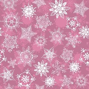 Elegant Holiday Snowflakes-Pink