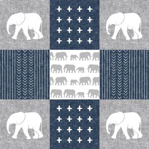 Elephant wholecloth - cross my heart - navy
