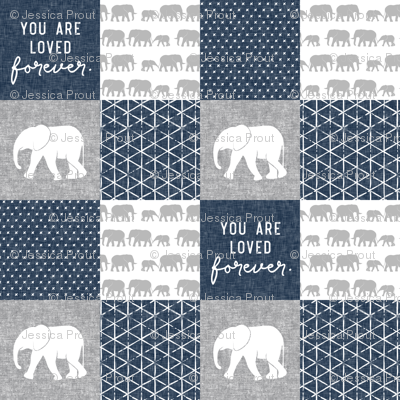 Elephant wholecloth - You are loved forever.  - navy