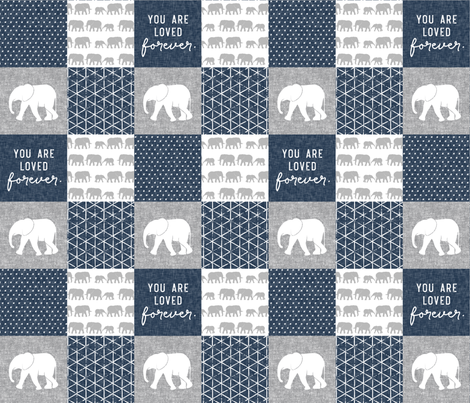 Elephant wholecloth - You are loved forever.  - navy fabric by littlearrowdesign on Spoonflower - custom fabric
