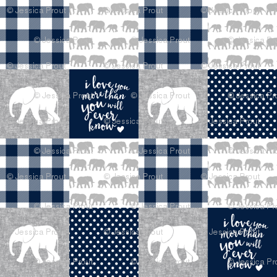 Elephant wholecloth - I love you more than you will ever know - patchwork - plaid -  navy