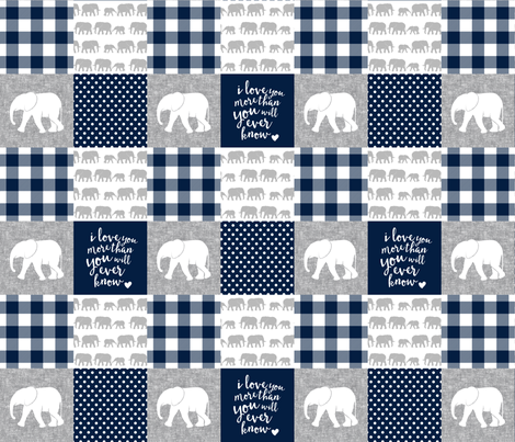 Elephant wholecloth - I love you more than you will ever know - patchwork - plaid -  navy fabric by littlearrowdesign on Spoonflower - custom fabric