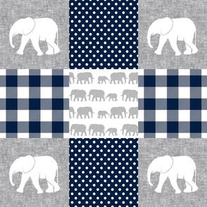 elephant wholecloth - plaid and polka dots - navy
