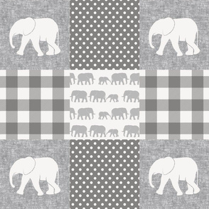 elephant wholecloth - plaid and polka dots - grey 2