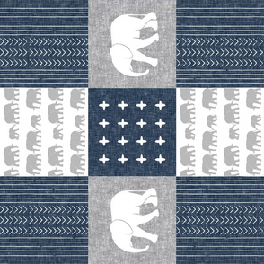 Elephant wholecloth - cross my heart - navy (90)