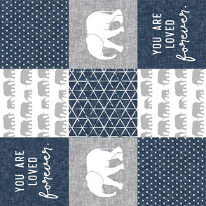 Elephant wholecloth - You are loved forever.  - navy (90)