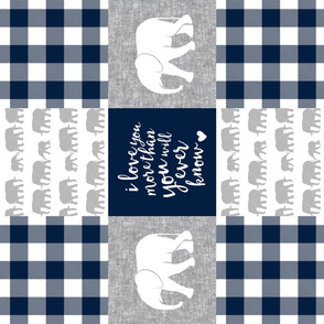 Elephant wholecloth - I love you more than you will ever know - patchwork - plaid -  navy (90)