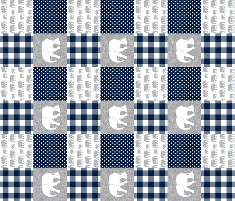 elephant wholecloth - plaid and polka dots - navy (90) fabric by littlearrowdesign on Spoonflower - custom fabric