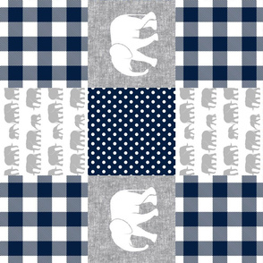 elephant wholecloth - plaid and polka dots - navy (90)