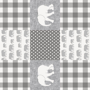 elephant wholecloth - plaid and polka dots - grey (90)
