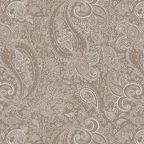 Paisley Cream on Brown