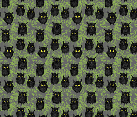 Ominous-Owls fabric by inkysunshine on Spoonflower - custom fabric