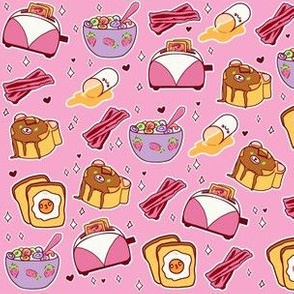 Kawaii Breakfast on Pink