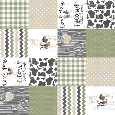 3 inch Farm//Love you till the cows come home//Ecru&Sage Green - Wholecloth Cheater Quilt - Rotated