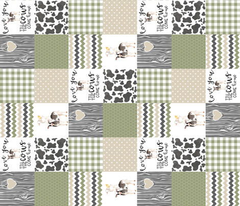 3 inch Farm//Love you till the cows come home//Ecru&Sage Green - Wholecloth Cheater Quilt - Rotated fabric by longdogcustomdesigns on Spoonflower - custom fabric