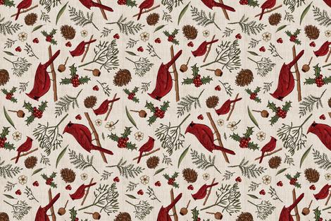 Christmas cardinals fabric by laurawrightstudio on Spoonflower - custom fabric
