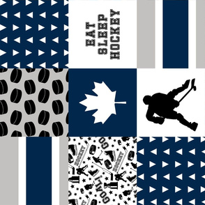 Eat Sleep Hockey//Canada - Wholecloth Cheater Quilt - Rotated