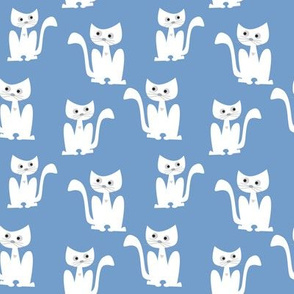 Cats on light blue