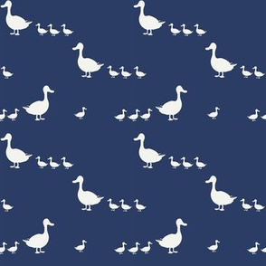 Ducks on navy blue