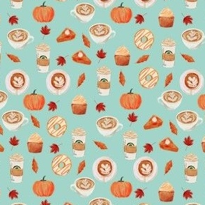 MINI - watercolor psl - pumpkin spice latte, coffee, latte, pumpkin, fall, autumn fabric - mint