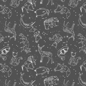 SMALL - constellations // night time stars sky charcoal grey kids nursery baby print