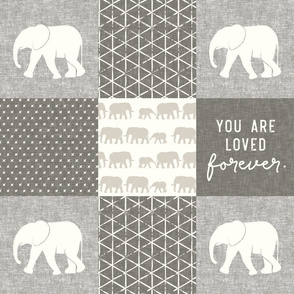 Elephant wholecloth - You are loved forever.  - cream and beige